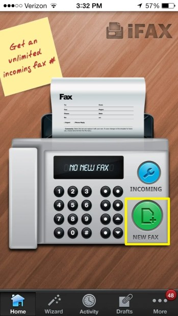 Tap New Fax