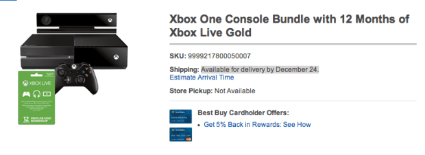 Grab an Xbox One in stock at Best Buy with delivery by Christmas Eve.