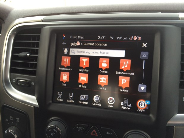 Search Yelp from your dash with the Uconnect system in the 2014 Ram 2500.