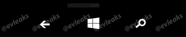 An allged screenshot of Windows Phone's software-based hardware button replacements.