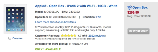 There are some big iPad 2 deals on open box items, but pay close attention to the damage.