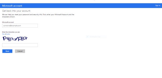 The Microsoft Account reset page.