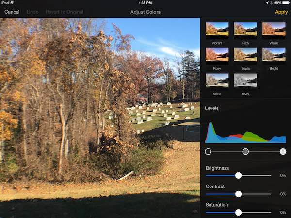 pixelmator for ipad color correction tools