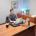 ergotron workfit p sit stand workstation in sitting position
