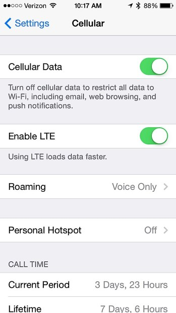 Toggle LTE off for better battery life in bad coverage areas.