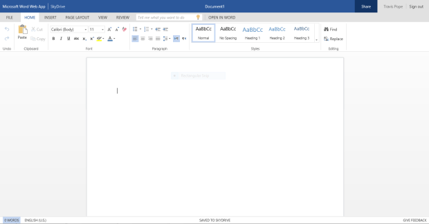 The newly updated design of the Office Web Apps.