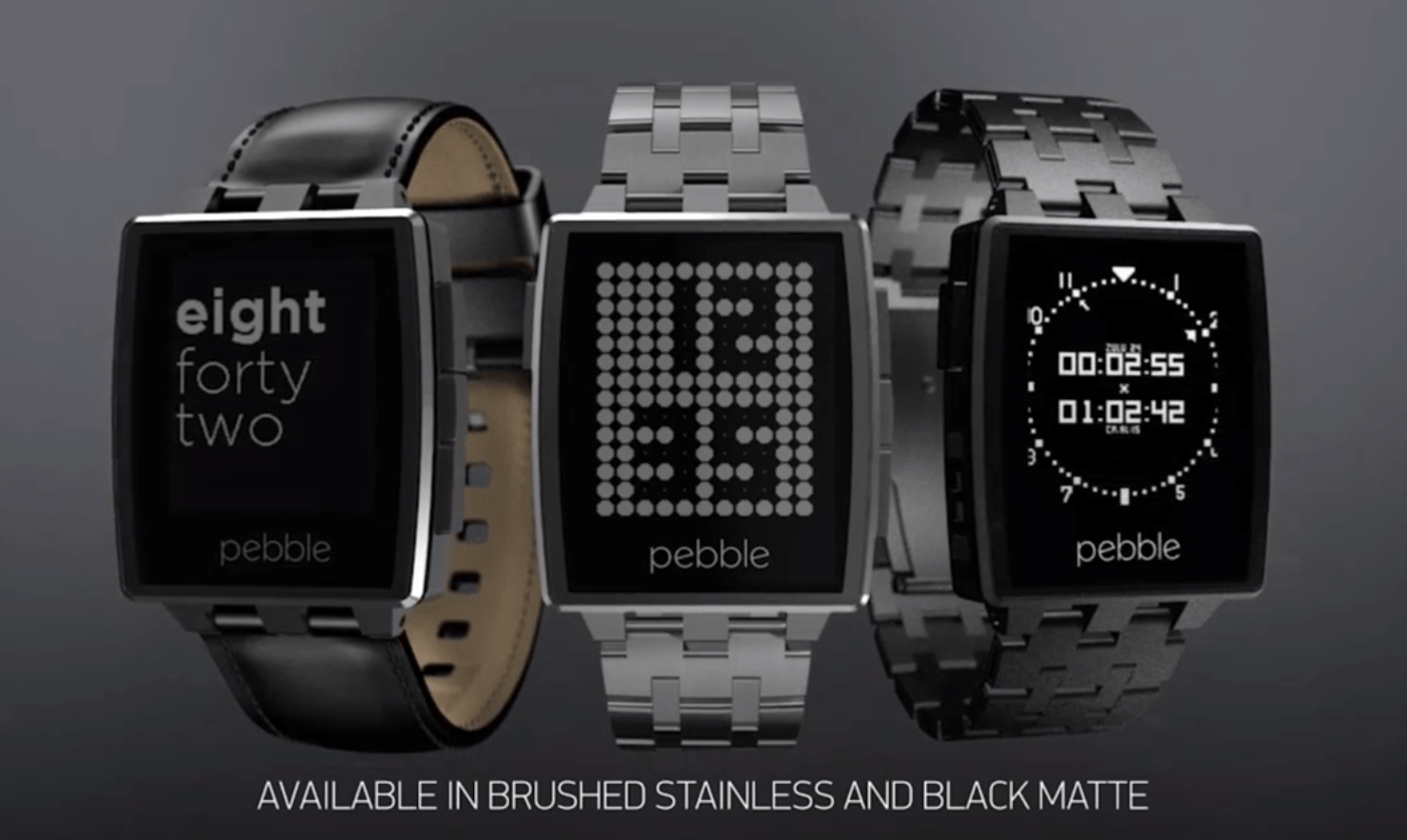 Pebble steel smart watch adds metal band gorilla glass display for Pebble watches