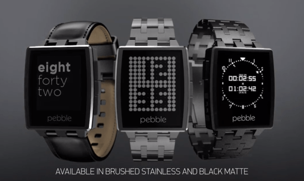 Each Pebble Steel comes with two bands, a metal band and a leather band.