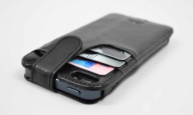 The Sena iPhone 5 wallet case holds three cards and one bill and secures them with a snap.
