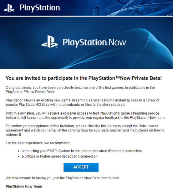 The PlayStation Now invitation posted to Neogaf.