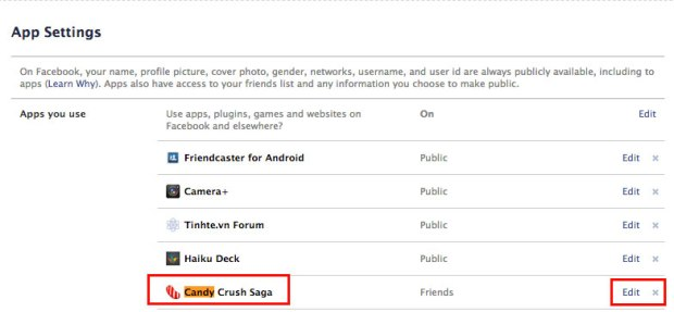 Locate the Candy Crush Facebook app.