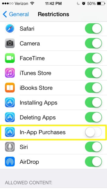 Disable In-app purchases