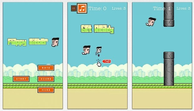 Not Flappy Bieber, but Tappy Bieber. This game takes on Cyrus.
