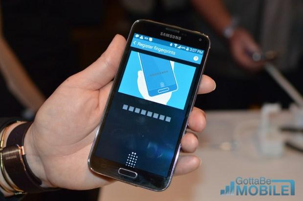 The Galaxy S5 features a fingerprint reader.