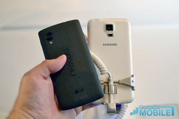 The Galaxy S5 and Nexus 5 take different design approaches.