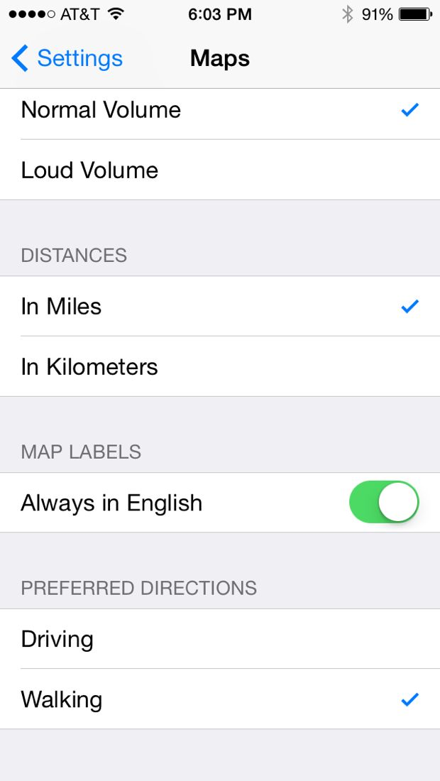 iphone maps directions setting