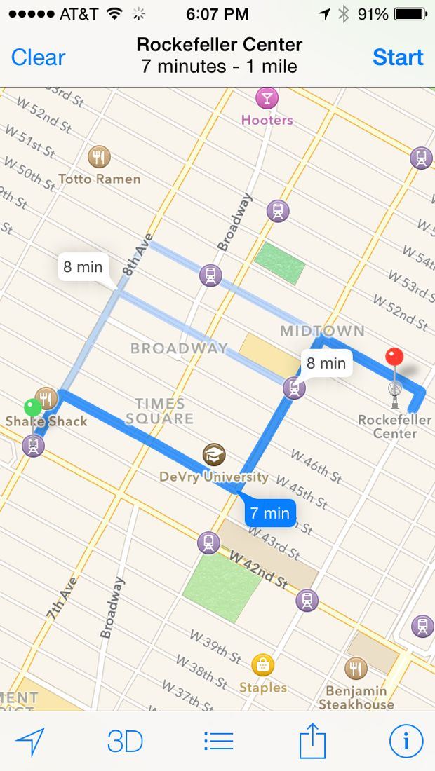 iphone maps driving directions