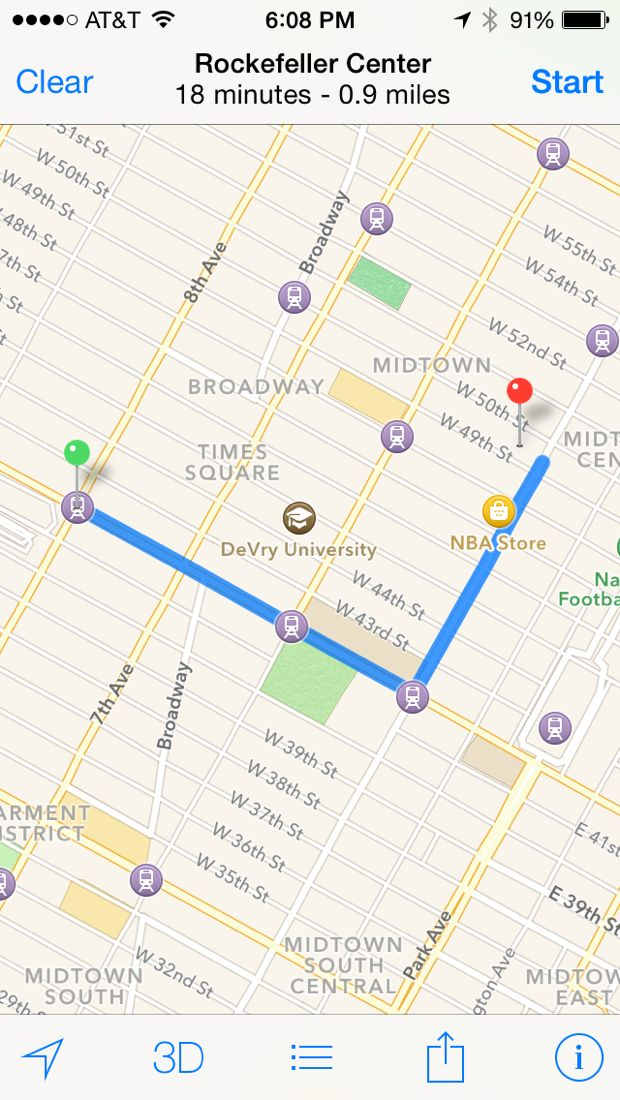 iphone maps walking directions
