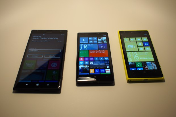 Size comparison--left ro right: Nokia Lumia 1520, Nokia Icon, Nokia Lumia 1020