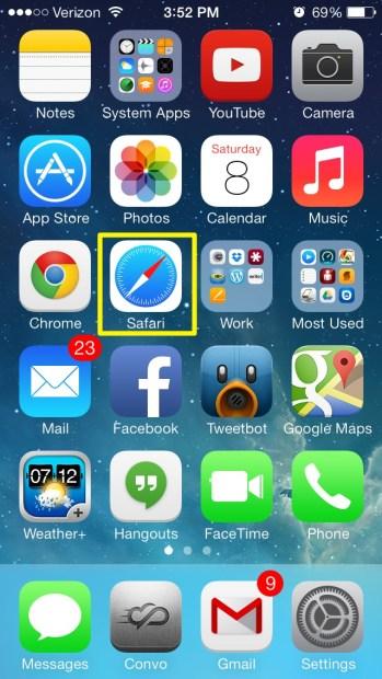 Open Safari (iPhone)