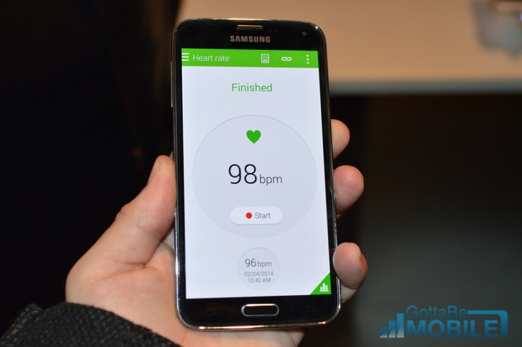 The Galaxy S5 features a pulse meter that can take a user's pulse.