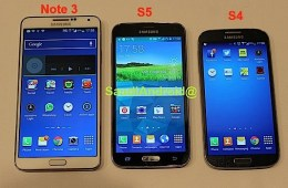 This Galaxy Note 3 vs Galaxy S5 vs Galaxy S4 photo shows the size of the new Galaxy.