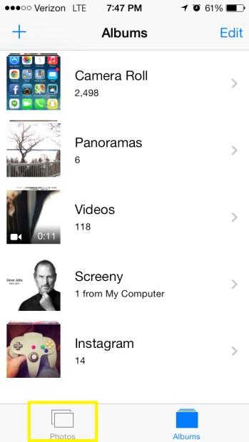 Select Photos Tab