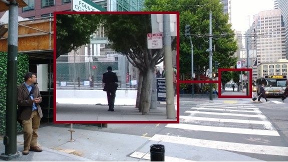 """With a superb 41-megapixel sensor, the Lumia 1020 allows for """"zooming"""" by cropping. Even the details are retained, as evident by the legible street sign when doing this close crop."""