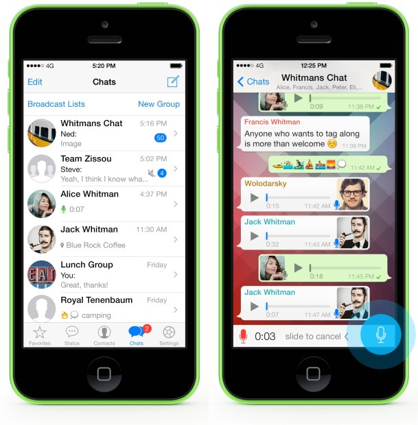 The WhatsApp app allows users to send multiple types of messages.