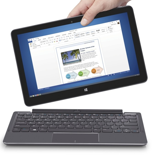Dell's larger tablet keyboard ($159 MSRP) turns the Venue 11 Pro into a convertible Ultrabook and adds double the battery life.