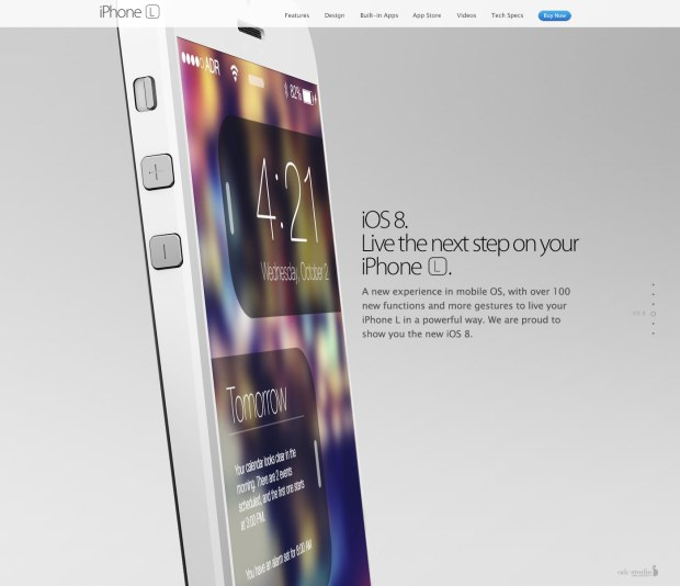 The iPhone 6 concept includes a tease of an iOS 8 concept.