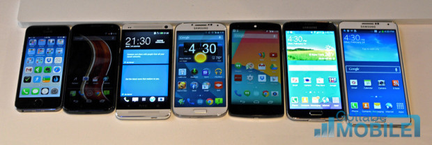 The Galaxy S5 is the second from the right. The HTC One is second from the left.