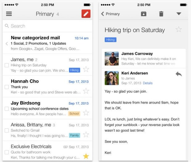 The new Gmail iPhone app allows users to get messages without waiting for the app to load them after it opens.