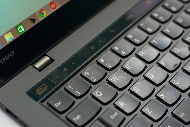 The top keyboard row changes based on the app that is in use.