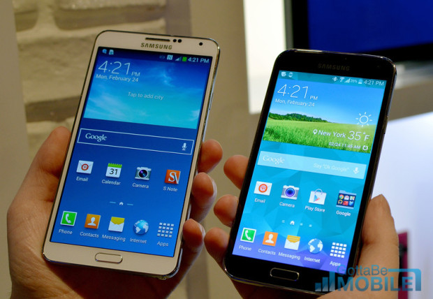 The Note 3 features a larger display, even though Samsung increased the size of the Galaxy S5.