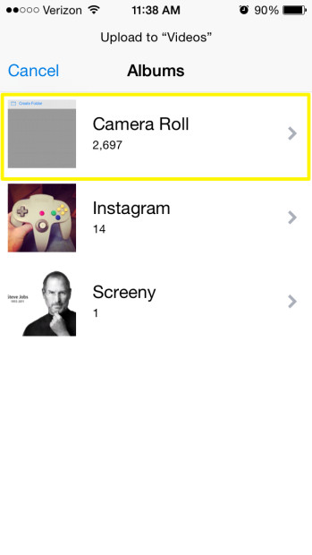 Select Camera Roll
