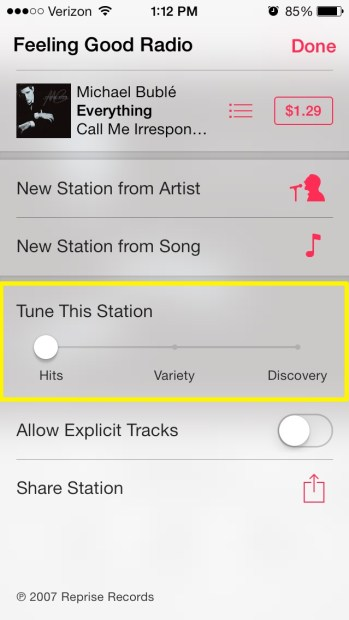 Song Variety Options