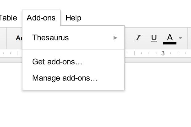 google docs add on menu