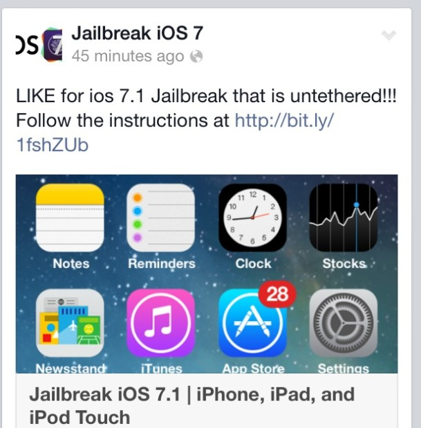 This announcement of an iOS 7.1 jailbreak release is not legit.