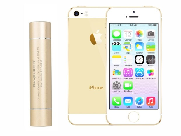 ravpower lipstick battery with gold iphone