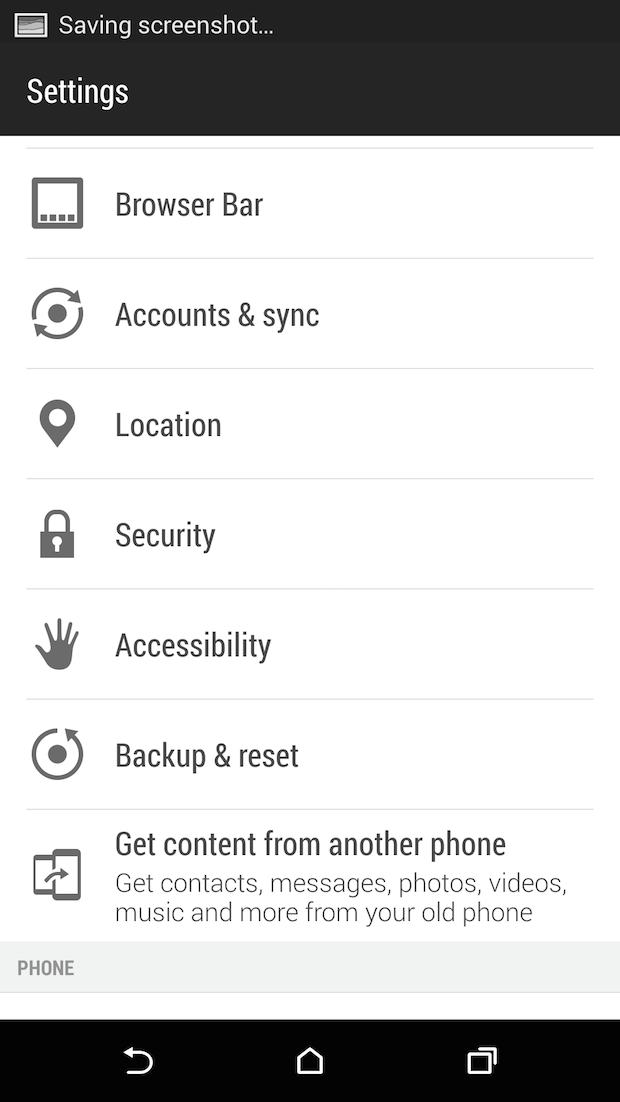 settings screen on htc one m8