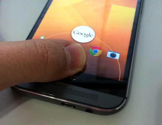 Slide up from the home button to access Google Now on the HTC One M8.