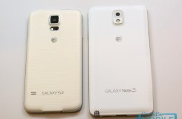 The Galaxy Note 3 leather bak is not as soft, but the white looks much nicer than the off-white of the Galaxy S5.