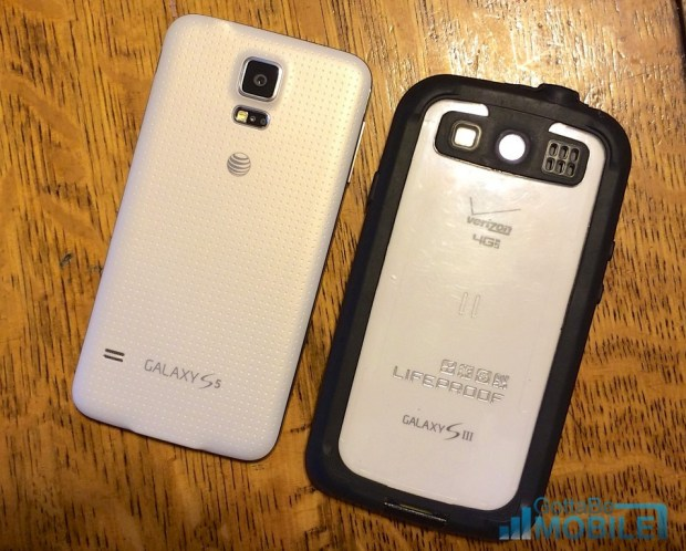 The Galaxy S3 with a waterproof case is about the same size as the Galaxy S5 with no case.