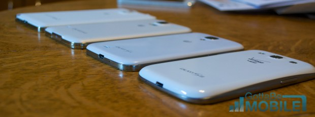 All of these phones are made of plastic but Samsung moved from hard cheap plastic to a soft touch that is a dramatic improvement over the Galaxy S3.