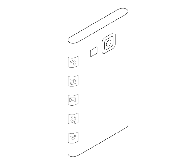 The filing shows a design with a three-sided display.