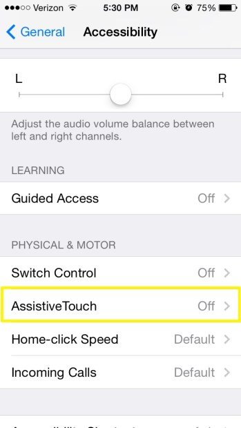 Select Assistive Touch