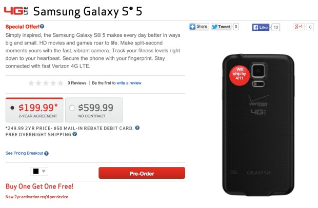 The Verizon Galaxy S5 release date is confirmed for April 11th.