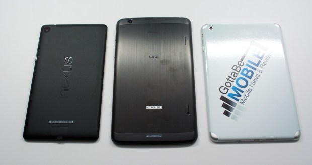 The LG G Pad 8.3 and the iPad mini offer metal backs, while the Nexus 7 is plastic.