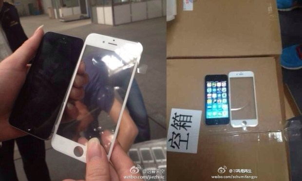 Two iPhone 6 photos allegedly show a new front panel that points to a larger display and a design change.